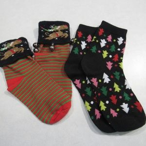 2 Pairs Christmas Socks Trees Reindeer Bells